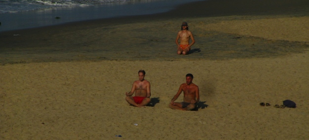 A spot of meditation before the crowds arrive on the beach
