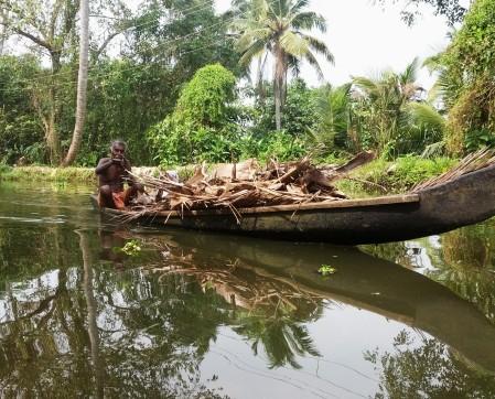 wood in canoe