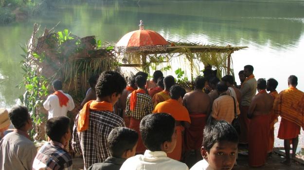 people at the lake