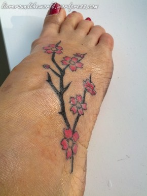 Wild cherry blossoms on my foot