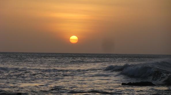Sunrise at Kanyakumari where the Indian Ocean, Bay of Bengal and Arabian Sea meet.