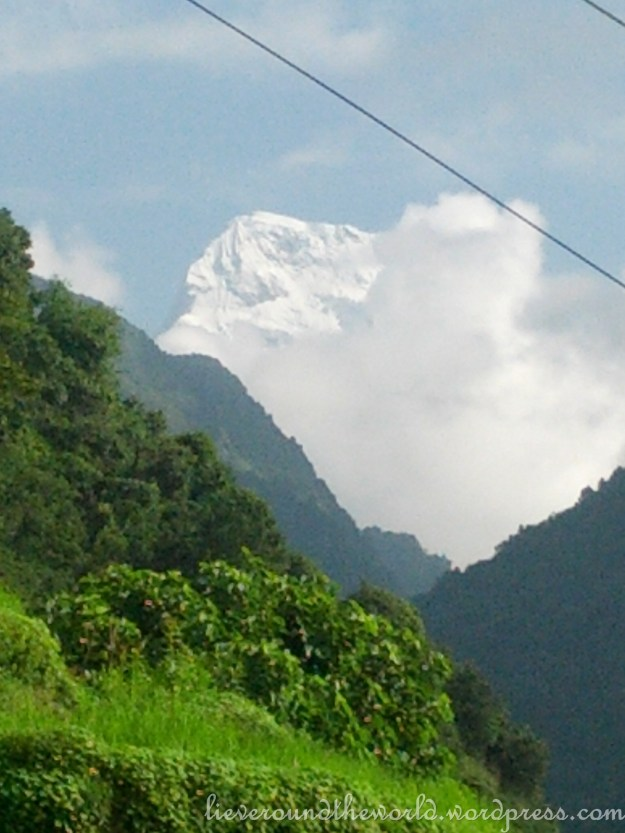 A first glimpse of the snow capped mountains on our trek to Goripani.