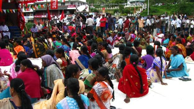 Striking women in Munnar.