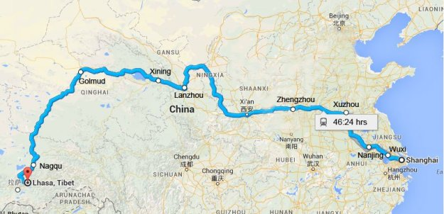 shanghai-to-lhasa-train-map