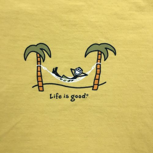 life-is-good-t-shirt-women-s-size-m-short-sleeve-yellow-hammock-outer-banks-b33fd3b5f535d5a40b2f0a1357cc4771